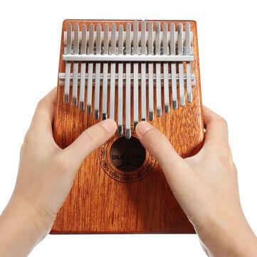 17 Keys Wood Kalimba Mahogany Thumb Piano Finger Percussion With Tuning Hammer