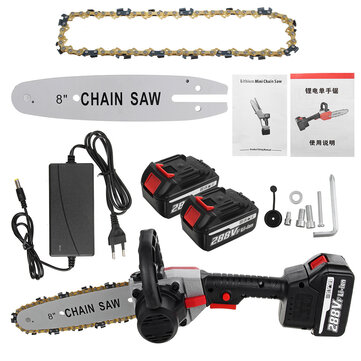 VIOLEWORKS 288VF 8 Inch Cordless Electric Chain Saw Wood Cutter One hand Saw Woodworking Tool Set