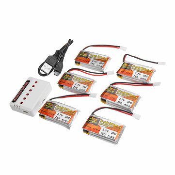 6PCS ZOP POWER 3.7V 750mAh 30C 1S Lipo Battery JST Plug With Charger For RC Models