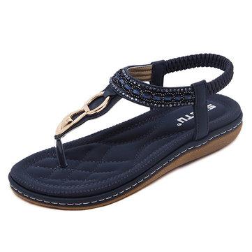 SOCOFY Outdoor Beach Flat Flip Flops Casual Flat Sandals