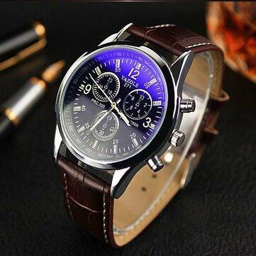 YAZOLE 271 Men Watch Fashion Style Leather Strap Quartz Wrist Watch