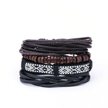 Vintage pria Multilayer Kulit Gelang Boho Geometric Pola Batu Kayu Bead Bracelet untuk Pria