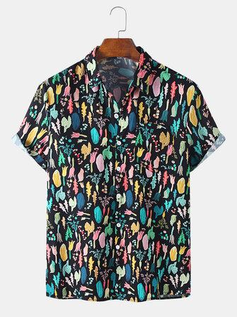 Mens New Fashion Print Turn Down Collar Short Sleeve Shirts