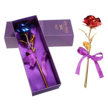 Creative Golden Rose 24K Gold Foil Rose Birthday Wedding Party Gift Flower Home Decor