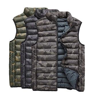 मोटी गर्म कैमो प्रिंटिंग वेस्ट स्टैंड कॉलर आस्तीन पुरुषों के लिए जैकेट नीचे इन्सुलेट