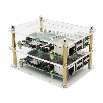 Double Layer Acrylic Case For Raspberry Pi 3 Model B 2B And B+ V35 Version With Screws