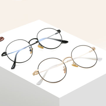 Bendable Blue Light Blocking Optical Eyeglasses Round Metal Frame Computer Reading Glasses
