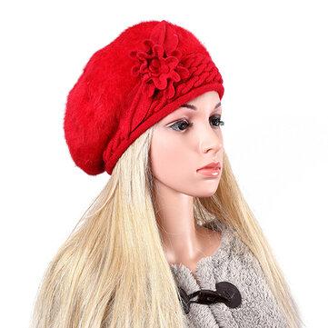महिला देवियों अशुद्ध खरगोश फर बुना हुआ Crochet Beanie कैप बुनाई लोचदार Baggy हैट