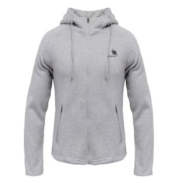 Mens Casual Warm Hoodies Sweatshirt Solid Color Raglan Sleeve Zipper Sweatshirt