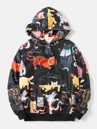 Mens Funny Cartoon Cat Print Kangaroo Pocket Black Hoodies for sale in Litecoin with Fast and Free Shipping on Gipsybee.com
