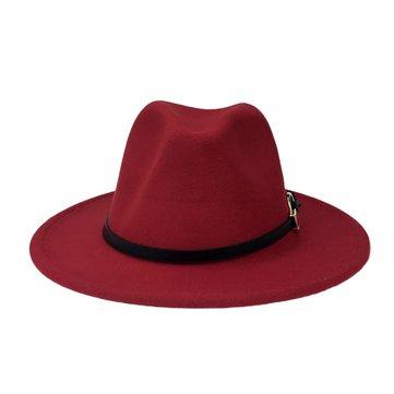 Men Women Vintage Felt Panama Style Beach Jazz Hat England Wide Brimmed Top Hat