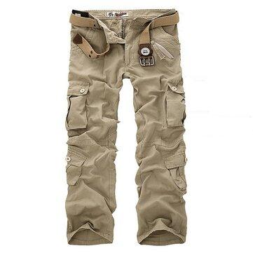 पुरुषों मल्टी पॉकेट सैन्य कार्गो सेना कार्य कॉम्बा पैंट पतलून