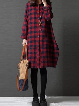 Casual Kadın Yaka Uzun Kol Düğmesi Up Tartan Elbise