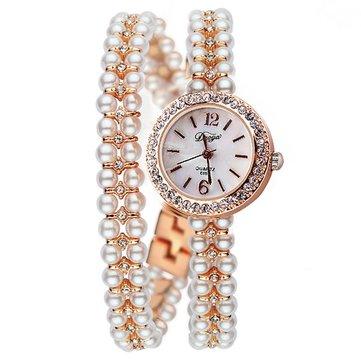 DUOYA XR1304 Elegant Pearls Bracelet Watch Ultra Thin Strap Quartz Watches