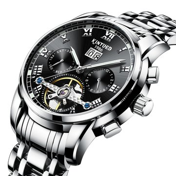 KINYUED JYD-J014 Stainless Steel Automatic Mechanical Watch Business Style Skeleton Men Watch