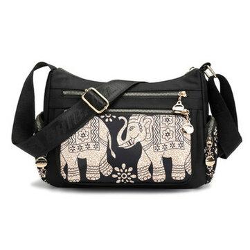 Women Casual Multi-pocket Print Crossbody Bag Waterproof  Shoulder Bag