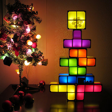 DIY Tetris Puzzle Novelty LED Night Light Stackable LED Desk Table Lamp Constructible Block Kids Toy's Light Christmas Gift