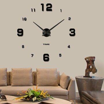 Modern Mute DIY Frameless Large Wall Clock 3d Mirror Sticker Metal Big Watches Home Office Decorations