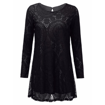Casual Loose Pure Color Lace Long Sleeve Round Neck Women Mini Dress