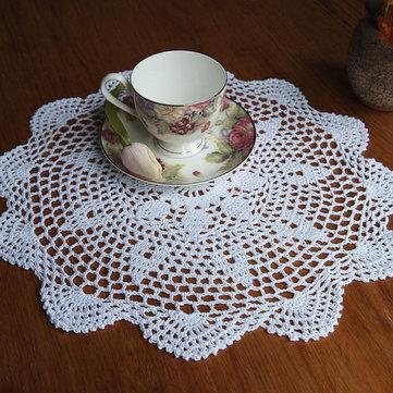 37cm Vòng trắng tinh khiết sợi bông tay móc ren Doily placemat Khăn trải bàn trang trí
