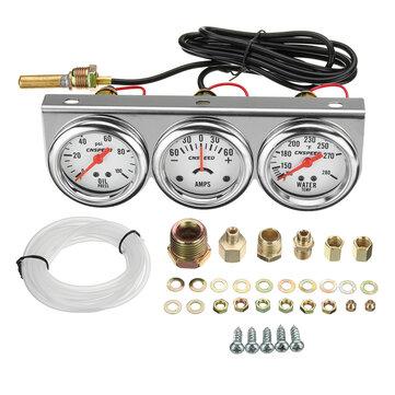 Đồng hồ đo áp suất nước 2 inch 52mm Nhiệt độ nước Máy đo ba vòng 3 trong 1 Bộ Chrome