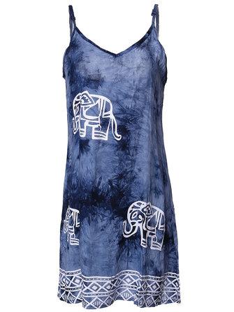सेक्सी महिला आस्तीन पट्टा हाथी मुद्रित समुद्र तट पार्टी मिनी पोशाक