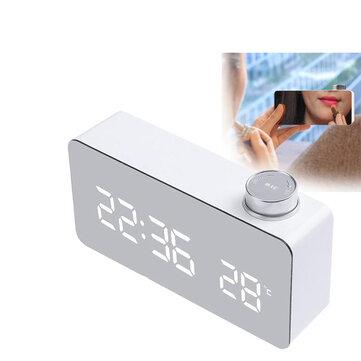 DecBest Beauty Mirror Knob Alarm Clock Personality Creative Thermometer Bedside Clock LED Luminous Student Clock