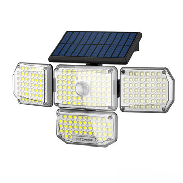 BlitzWolf® BW_OLT6 4 Heads Solar Sensor Wall Light with 4_Side Light Output, Rotatable 4 Heads, Sensitive PIR Sensor, 3 Working Modes and IP65 Waterproof