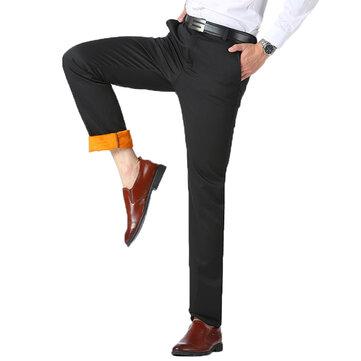 शरद ऋतु शीतकालीन थर्मल मखमली सीधे सूट पैंट मध्य आयु वर्ग के पुरुषों आरामदायक व्यापार मोटी गर्म प