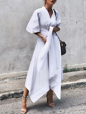 Women 3/4 Sleeve Asymmetrical Midi Shirt Casual Belted Long Dress