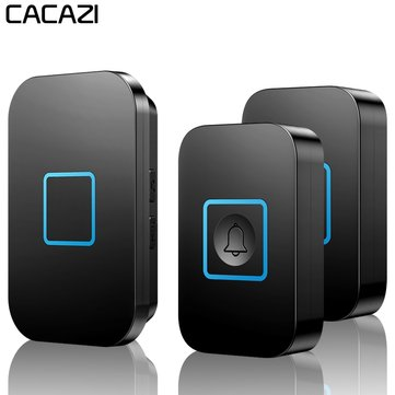 CACAZI A88 Wireless Waterproof Doorbell LED Light 300M Remote 2 Button 1 Receiver Calling Bell