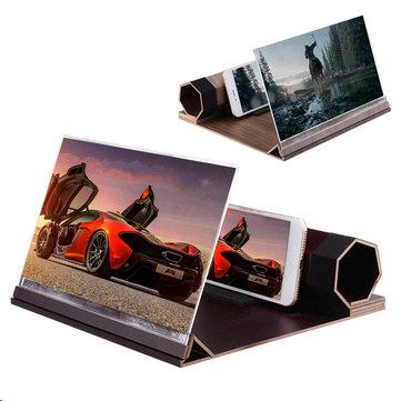 Universal 3D Phone Screen Magnifier Stereoscopic Amplifying 12 Inch Desktop Wood Bracket Phone Holder For Smartphone
