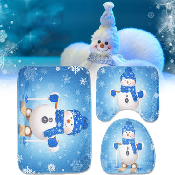Buy 3pcs Set Christmas Snowman Toilet Seat Covers Bathroom Carpet No-Slip Rug Xmas Decor with Litecoins with Free Shipping on Gipsybee.com