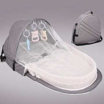 Lettino portatile pieghevole multifunzionale in cotone con rete e giocattoli per neonato