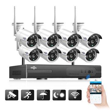 Hiseeu WNKIT-8HB612 1080P Wireless CCTV System 2M 8CH Wifi NVR Outdoor IR Night Vision IP Camera Security System Surveillance