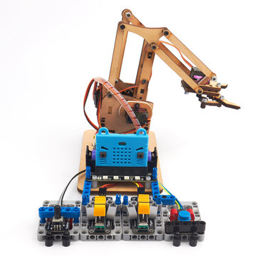 $59.49 For KittenBot Microbit DIY 4DOF Programmable Wood Bluetooth RC Robot Arm
