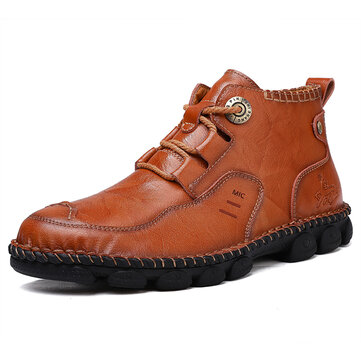 Men Soft Cowhide Leisure Sewing thread Business Casual Ankle Boots
