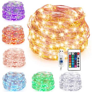 7 dây USB 10M RGB dây LED DIY DIY Chuỗi đèn trang trí Giáng sinh với 24 phím điều khiển từ xa