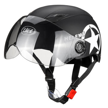 Buy ABS Motorcycle Half Face Helmet Ultraviolet-proof PET Brown Lens Bike Helmet with Litecoins with Free Shipping on Gipsybee.com