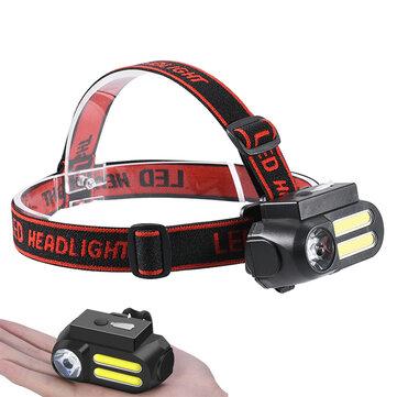 XANES® NF-611 LED + 2COB 650LM 4 modalità Lampada frontale 90 ° ruotabile multifunzione ricaricabile USB ricaricabile impermeabile esterno campeggio Escursionismo Ciclismo TORCIA Fari 18650