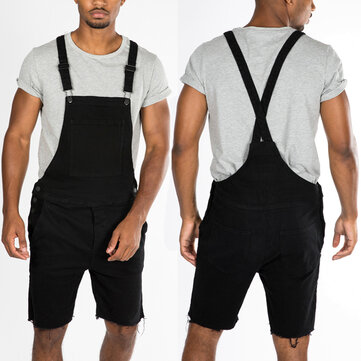 Summer Mens Bib Brace Dungarees Shorts Trousers Work Overalls Jumpsuits Rompers