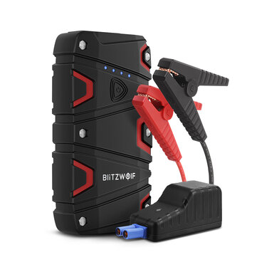 BlitzWolf BW JS1 Portable Car Jump Starter 12000mAh 800A Emergency Battery Booster Power Bank Waterproof with LED Flashlight QC3.0 USB Charging Port Coupon Code and price! - $48