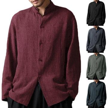 Camicia Classica a Stile Cinese di Cotone Colletto Rialzato Maniche Lunghe di Taglia Grande da Uomo