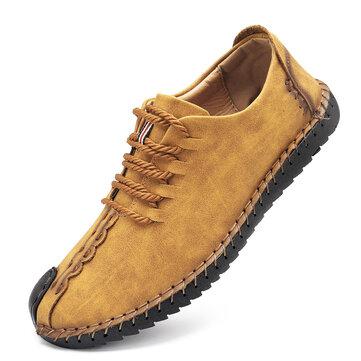 US Tamaño 6.5-11 Hombres que Cose a Mano Suave Suela Casual  Lace Up Oxfords Zapatos
