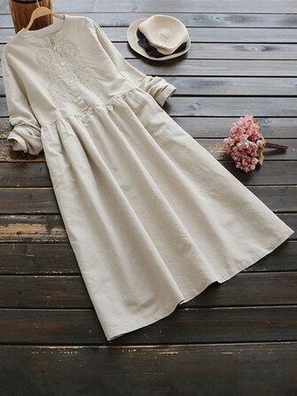 Vintage Women Cotton Solid Color Round Neck Button Long Sleeve Dress