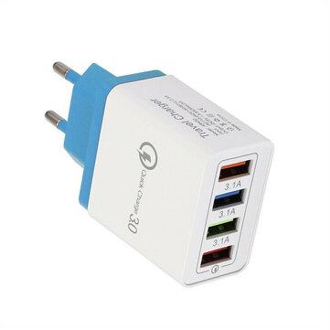 QC3.0 4Ports Adaptador de carregador USB Adaptador de carregador de parede de viagem USB