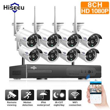 Hiseeu 960P CCTV Inalámbrico 8CH NVR Kit al Aire Libre IR Visión Nocturna IP WiFi Cámara de Vigilancia de Seguridad de UE Enchufe
