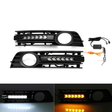 Pair Mesh Fog Light Cover Grille Flowing LED Turn Signal White DRL Daytime Running For Audi A4 B6 2002-2005