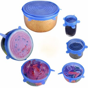 6PCS Silicone Microwave Freezer Fresh Covers Bowl Pan Stretch Spill Lid Stopper Cover Can Opener