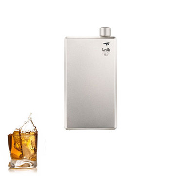 Keith Ti9306 100ml Pure Titanium Square Liqueur Flask Hip Flask Portable Camping Travel